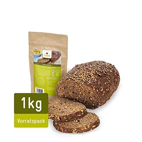 Lizza Low Carb Brot Backmischung | Bio. Glutenfrei. Vegan. Kohlenhydratarm. Proteinreich. Ballaststoffreich | Geeignet für Vegane, Keto, Diabetes und Low Carb Ernährung | 1x 1kg Backmischung