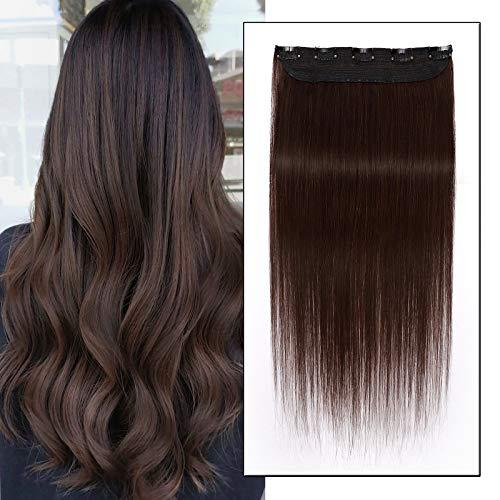 """10""""/25CM Extensions A clip Cheveux Naturel Une Bande A 5 Clips Rajout Cheveux Naturel Invisible,#4 Châtain"""