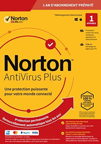 Norton Antivirus Plus 2020 | Antivirus pour 1 appareil et un an d'abonnement avec renouvellement automatique | PC/Mac | Code d'activation - envoi par email