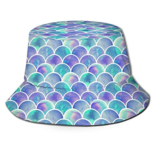 Cappelli da Pescatore Acquerello Arcobaleno Sirena Bilancia Secchiello da Viaggio Estivo Casual per Donna e Uomo, per Protezione Solare