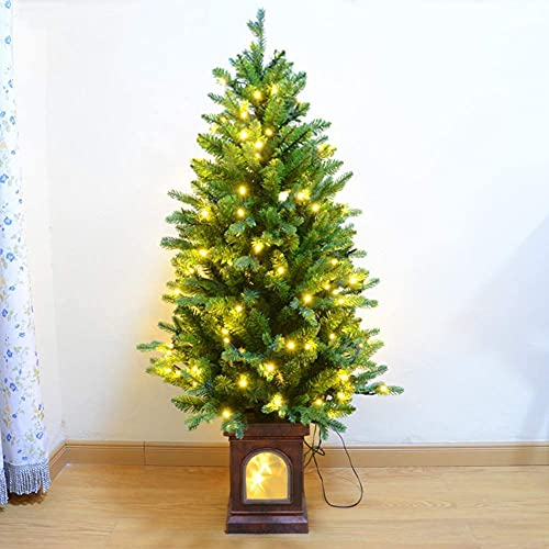 Modos De Flash De Árbol De Navidad Árbol De Navidad Artificial con Base Marrón Luz Led Brillante Retro Árbol De Pino De Navidad Ecológico PE + PVC Bonsai Can Árbol De Navidad para Decoración del Hog