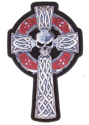 Large 11 Inch Celtic Skull Head Cross Embroidered Jacket Patch