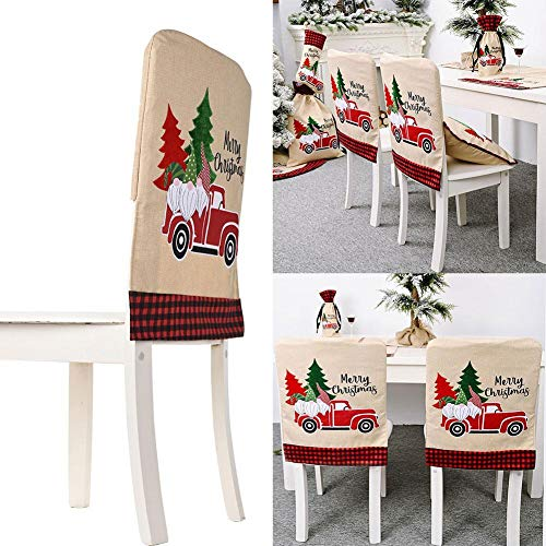 Fundas Para Silla De Navidad, 4Pcs Navidad Cubierta De La Silla, Para Christmas Chair Cover Fundas De Silla Navidad Decoración Fiesta Navideña