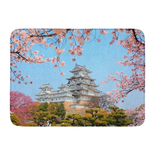 nologo Zerbini Tappeti da Bagno Tappetino per Porte per Interni/Esterni Blu Giappone Castello di Himeji Circondato da Fiori di ciliegio Paesaggio Giapponese Decorazioni per Bagno Tappeto per Bagno