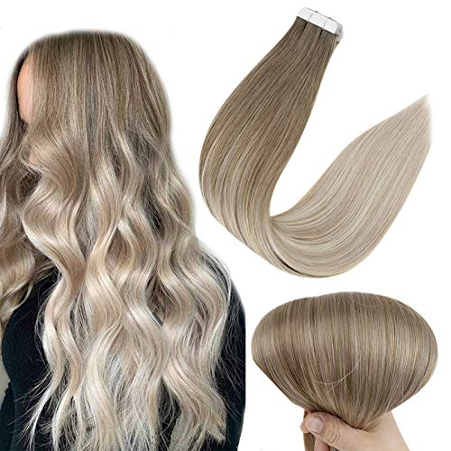 Full Shine Tape in Hair Extensions 20 Inch Ombre Tape in Extensions Remy Human Hair Balayage Color 8 Ash Brown Fading to 60 Platinum Blonde and 18 Ash Blonde Hair Extensions 20 Pieces 50 Gram