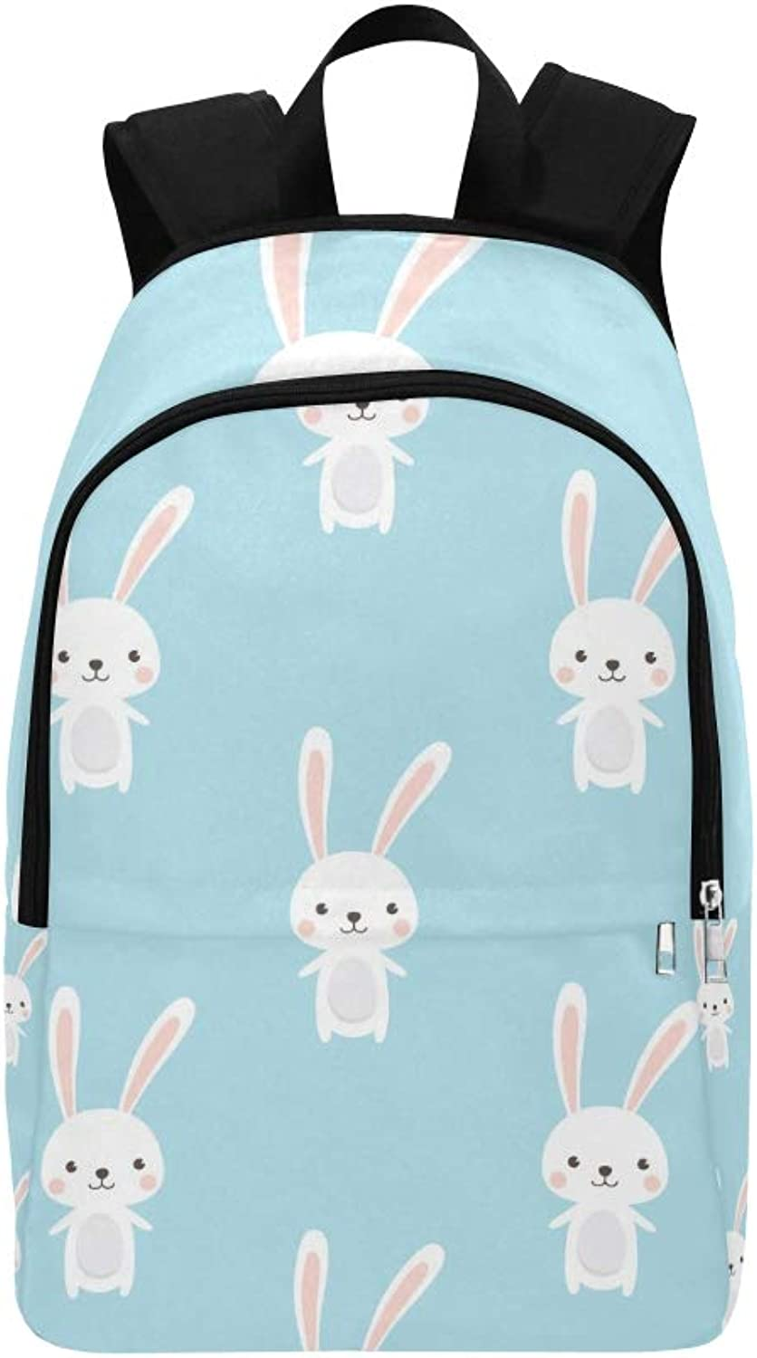 Cute Rabbit Character On Casual Daypack Travel Bag College School Backpack for Mens and Women
