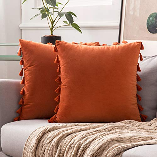 MIULEE Velvet Cushion Covers Home Decoration Tassel Design Pillowcases for Livingroom Sofa Bed Couch Soft Luxury Pure Color with Delicate 2 Pieces 16x16inch 40x40cm Orange