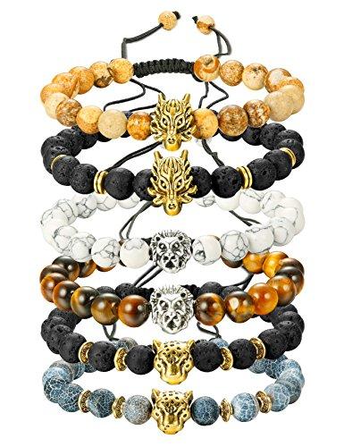 Finrezio 6PCS Mens Bead Bracelets Set Dragon/Lion/Panther Charm Lava Rock Natural Stone Bracelet, 8MM (Style B: 6Pcs of Adjustable)