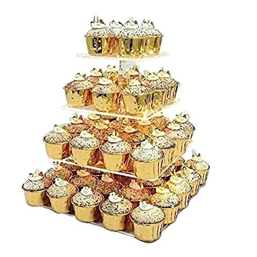 Equipo diario Soportes para magdalenas Soporte para magdalenas con luces LED para bodas, cumpleaños, té de la tarde, 4 niveles, soporte para magdalenas, iluminación para pasteles y postres, pantall