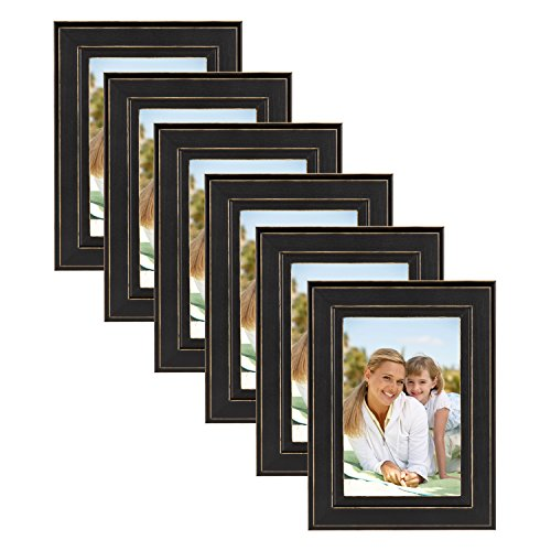 DesignOvation Kieva Solid Wood Picture Frames, Distressed Black 4x6, Pack of 6