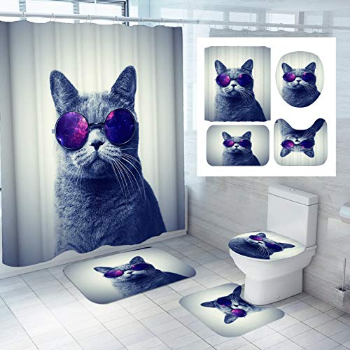 Denifeiya 4PCS Space Cat Shower Curtain Sets with Rugs,Blue Cat wear Galaxy Glasses Kids Bathroom Decor Non-Slip Bathroom Mat Bath Mat Toilet Rug,with 12 Hooks,72X72 Inch,Blue Cat