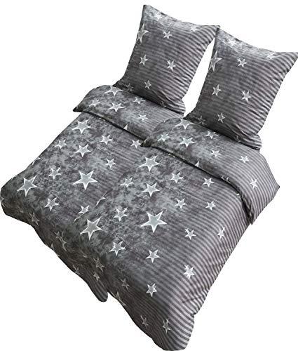 Leonado Vicenti Bettwäsche 135x200 oder 155x220 4teilig Mikrofaser Sterne Grau Galaxy mit Reißverschluss, Maße:135 x 200 cm