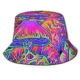 Sombrero de Sol Unisex con Forma de Cubo, ala Ancha de Pavo Real, protección Solar al Aire Libre, Gorras de Pescador para Caminar, Seta de Humo Trippy