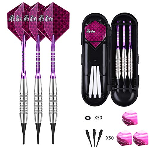 Darts Plastic Tip Set - 18g Soft Tip Darts - 16g Dart Barrels w/ 50 O-Rings + 6 Shafts(Aluminum &...