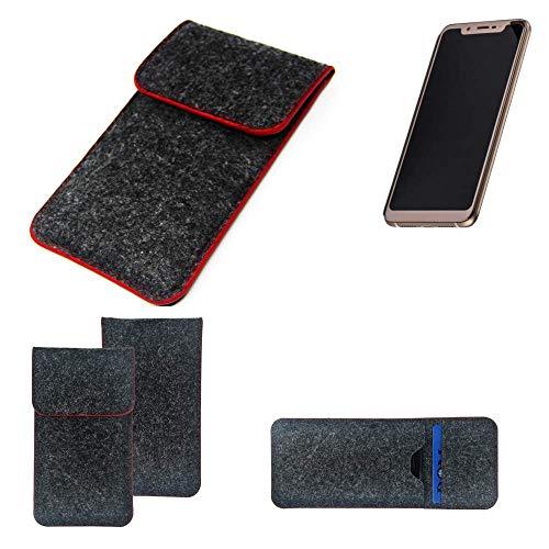 K-S-Trade Handy Schutz Hülle Für Doogee V Schutzhülle Handyhülle Filztasche Pouch Tasche Hülle Sleeve Filzhülle Dunkelgrau Roter Rand