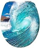 Cornat WC-Sitz 'Wave' - Außergewöhnliche 3D-Chrom Optik - Hochwertiger Holzkern - Absenkautomatik - Bequeme Montage von oben - Komfortables Sitzgefühl / Toilettensitz / Klodeckel / KSDSC411