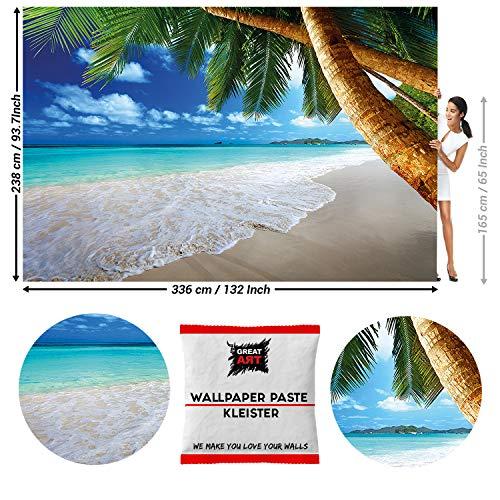 GREAT ART Fototapete Strand Meer Palmen 336 x 238 cm – Karibik Landschaft Ozean Tropen Sonne Sommer Urlaubsmotiv Wandtapete Dekoration Wandbild – 8 Teile Tapete inklusive Kleister