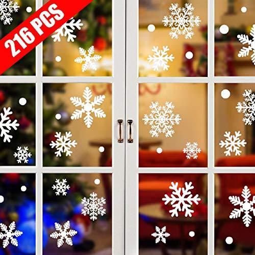 Tuopuda 108 Weihnachten Schneeflocken Fenster Deko Schneeflocken Aufkleber Statisch Fensterbilder (108 Schneeflocken)
