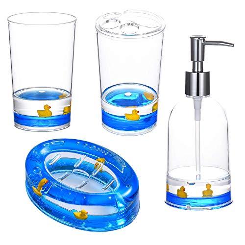 Locco Decor 4 Piece Acrylic Liquid 3D Floating Motion Bathroom Vanity Accessory Set Duck