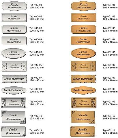 T/ürschild Typ:Messing 401-10 Pokalschild Namensschild 105x55 mm Klingelschild Briefkastenschild