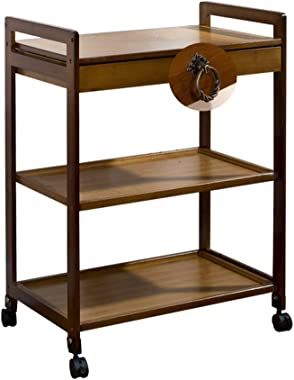 Tea Cart Movable Sofa Side Table Three-Tier Tea Rack Living Room Cabinet Removable Locker Tables (Color : Brown, Size : 80 *