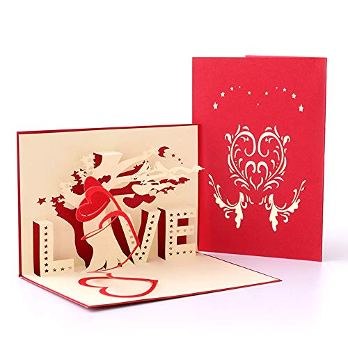 Deesospro® día de la Madre tarjeta,Tarjeta de cumpleaños para mamá, Tarjeta de felicitación pop-up 3D con hermoso papel cortado, regalo para el cumpleaños de mamá, sobre incluido (amor)