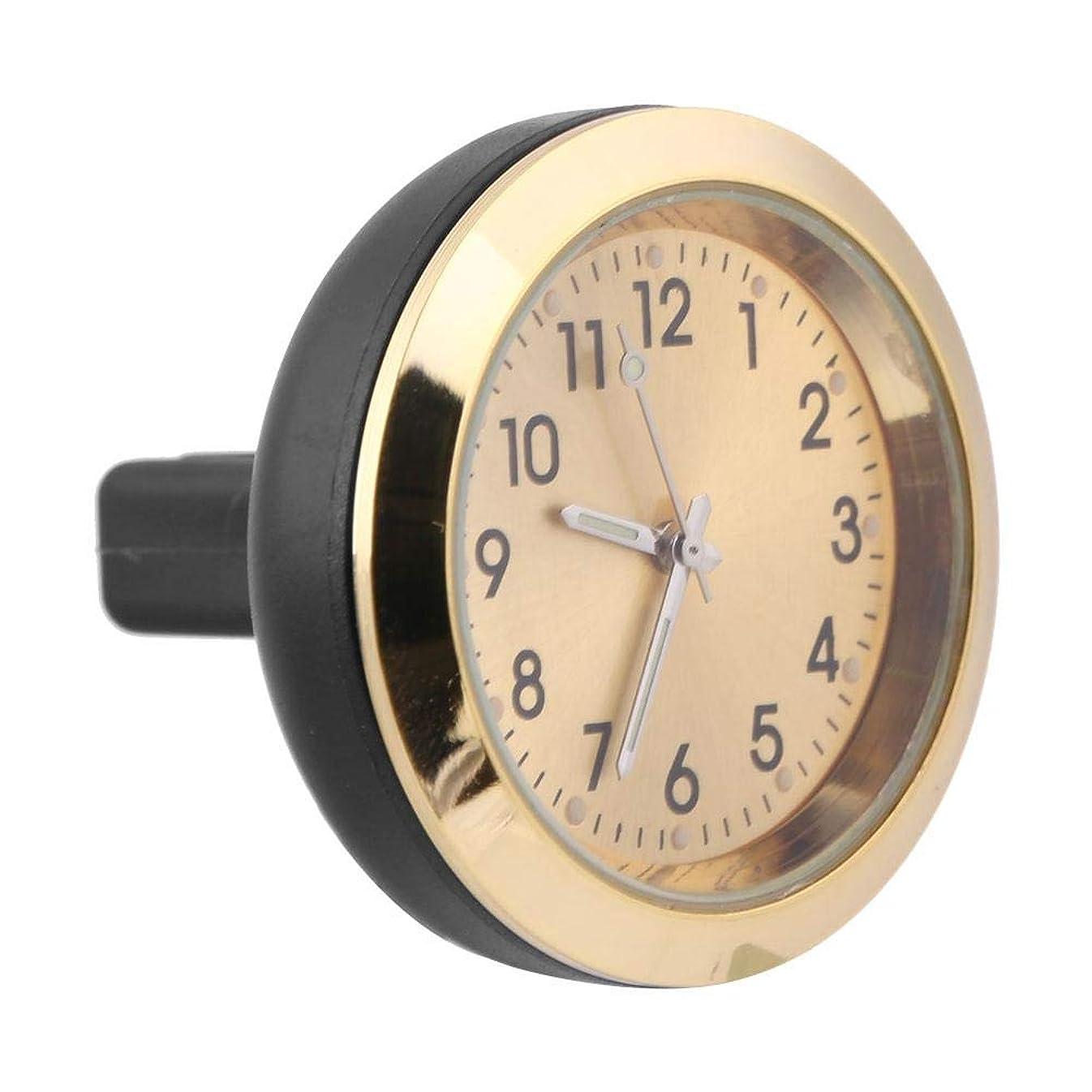 マニア要求トランザクションDuokon 金属+プラスチック+ガラス カークロック、 車内アロマテラピー時計エアアウトレットクリップゲージ 電子時計香水詰め替え(金)