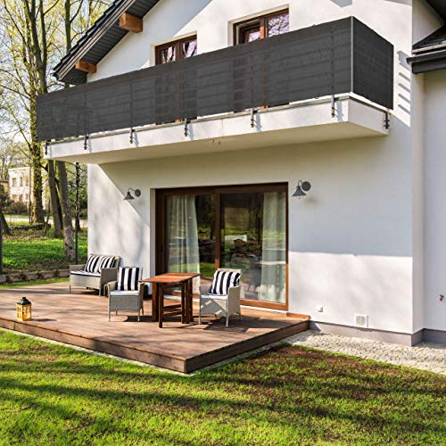 Lumaland Balkonsichtschutz 0,9 x 5 Meter, inklusive Befestigungsseil, 100% HDPE mit Stabilisator für UV Schutz, Dunkelgrau