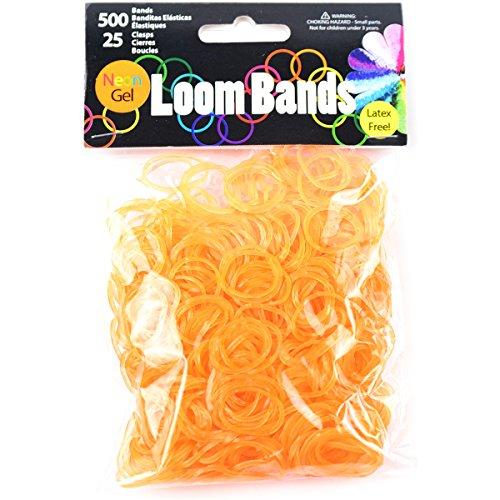 Touch of Nature Lot de 500 Bracelets à Tisser en Gel néon et 25 fermoirs en Plastique Orange