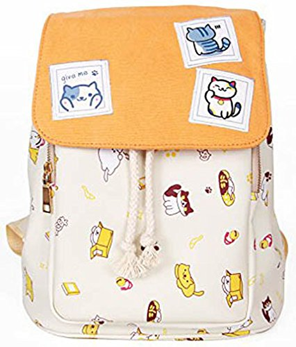 MONMOB Neko Atsume Anime Cover Type Lolita Style Cute Cat Backpack Shoulders Bag Canvas Bag