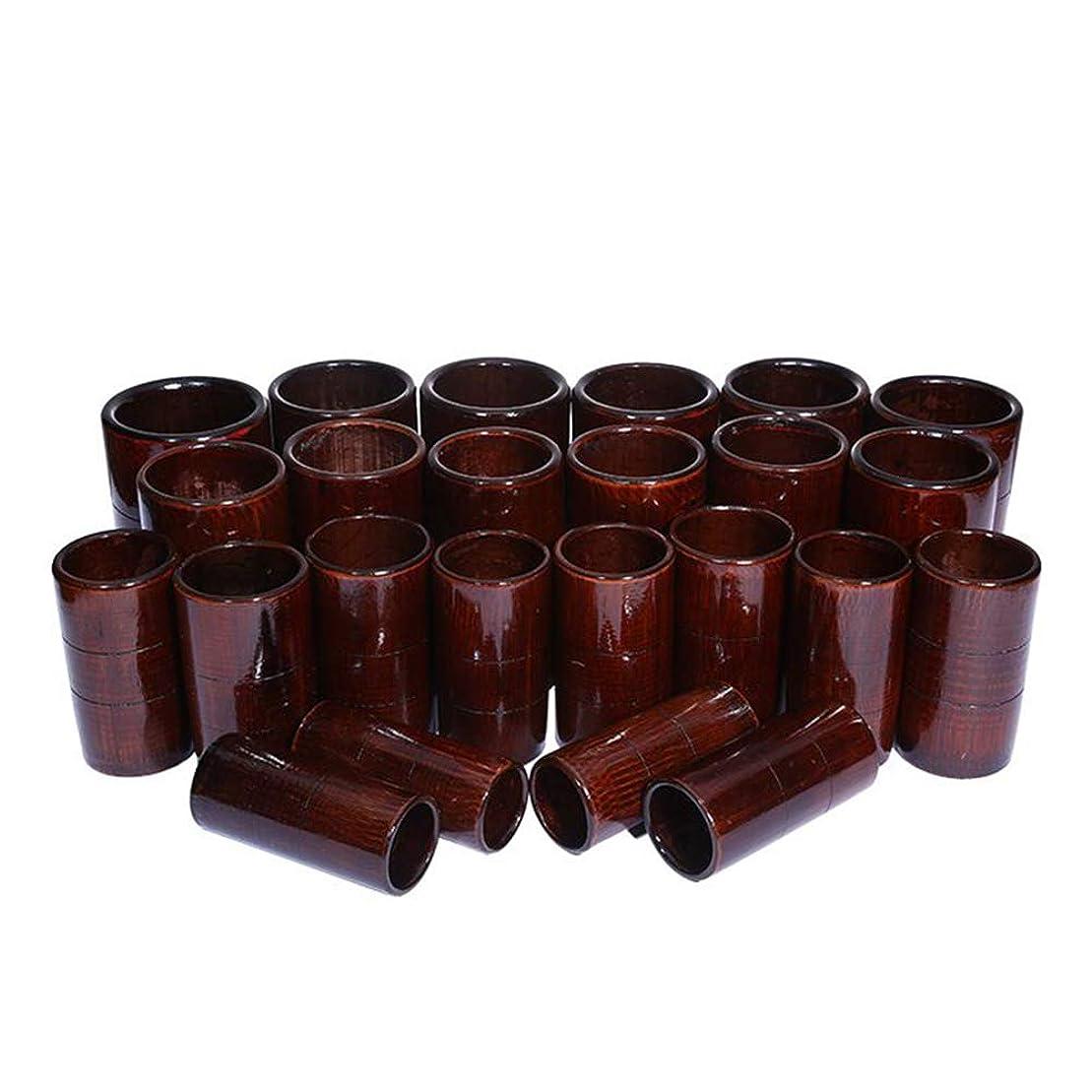 まどろみのある影響力のあるメキシコ竹鍼治療セット - 炭缶ボディ医療吸引セット - カッピングマッサージバキュームカップ,D24pcs