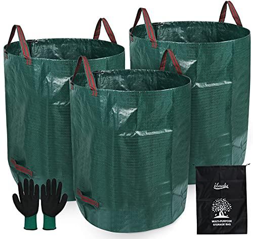 Gartenmüllsäcke, 3x Gartensack 272L Gartenabfallsack aus robuste PP - Selbstaufstellende und Faltbar Laubsäcke mit Aufbewahrungstasche und Handschuhen für Gartenabfälle Laub