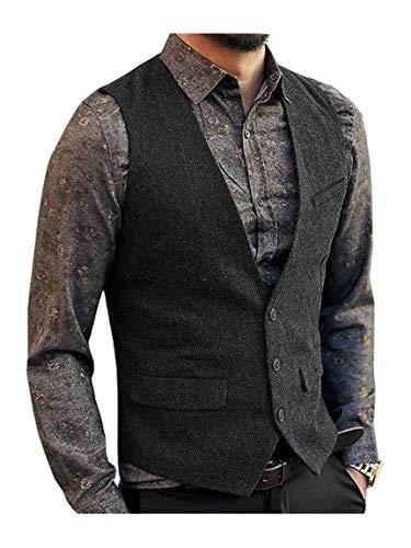 JinXuanYa Tweed Chaleco Hombre Negro Vestir Lana de Invierno 2020 Vintage Casual Cuello V Multibolsillo para Trabajo Traje Navidad Fiesta -L