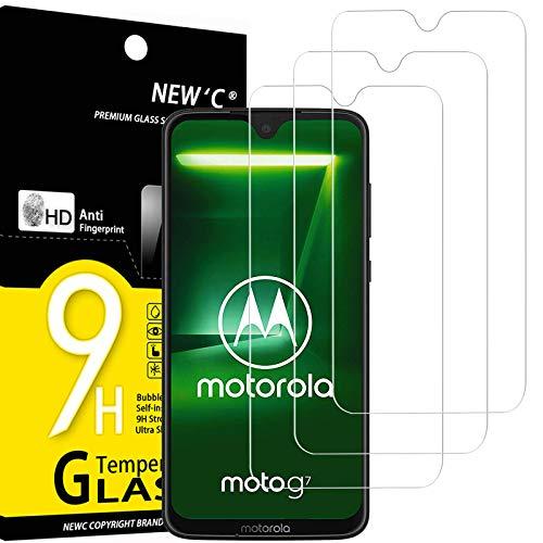 NEW'C 3 Unidades, Protector de Pantalla para Motorola Moto G7, Antiarañazos, Antihuellas, Sin Burbujas, Dureza 9H, 0.33 mm Ultra Transparente, Vidrio Templado Ultra Resistente