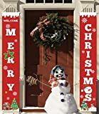 heekpek 2 Pezzi Banner di Natale Benvenuto Buon Natale Portico Segno Banner Distico di Natale Casa Porta Benvenuto Natale Porta Decor Outdoor Indoor Decorazioni Natalizie