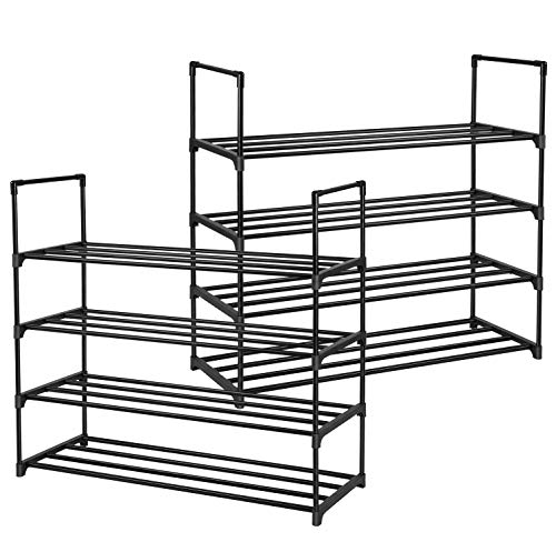 SONGMICS Set of 2 Shoe Racks 4-Tier Shoe Organizers Hold up to 40 Pairs of Shoes Stackable Shoe Towers for Living Room Entryway Black ULSA08BK
