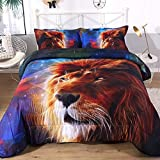 ENCOFT Blue Galaxy Lion Head Comforter Bedding Sets Queen 3 Pcs, Boys Girls Galaxy Blue Bedspread Coverlet Quilt Comforter with 2 Pillowcases, Kids Warm Lion Head Comforter Queen