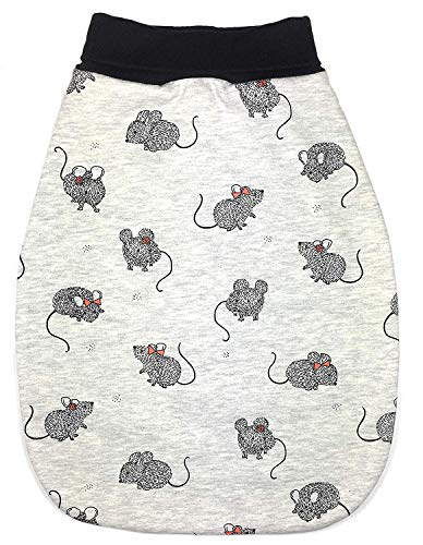 Balna Baby Strampelsack (Maus, Mäuse) Kinder Schlafsack Sweat-Stoff Schwarz Grau meliert - Made in Germany (50/56)