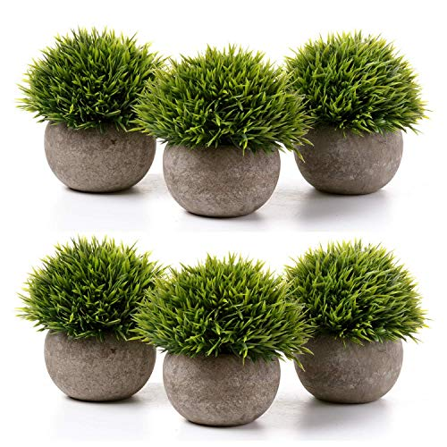 MLYWD Künstliche Topfpflanze Gefälschte Zierpflanze Bonsai Kunstpflanze Mit Grauem Blumentopf Für Hochzeit/Büro/Heimtextilien - 6 Töpfe