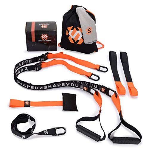 Septagon Sports® Premium Sling Trainer Set V.2020 Suspension Trainer mit Handtuch, Rucksackbeutel und Trainingsbuch - Schlingentrainer für Functional Training mit Türanker + Qualitätszertifikat