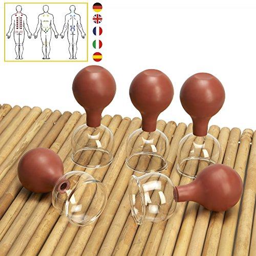 Lunata [Upgrade 2020] 5er Schröpfglas Set mit Saugball, 60 mm, Schröpfgläser für eine professionelle Schröpfmassage um Verspannungen lösen und Schmerzen lindern, Farbe: Braun