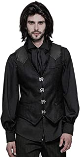 Punk Rave Mens Steampunk Vest Gothic Victorian Waistcoat V Neck Slim Fit Single Breasted Paisley Dress Vest