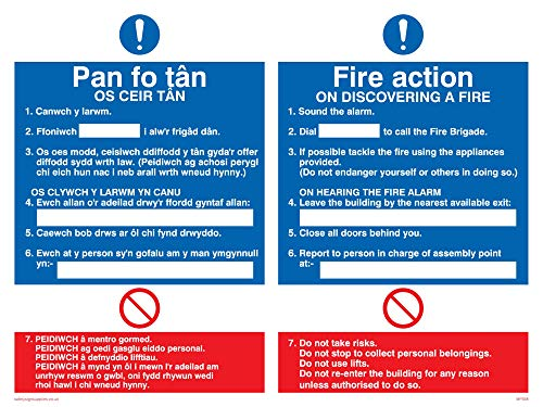 Viking Signs MF938-A5L-1M Pan Fo Tan/Fire Action Rules Sign, Kunststof, 1 mm Semi-Rigid, 150 mm H x 200 mm W