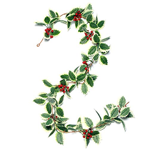 IFLOVE Christmas Garland Winter Red Berries Holiday Decoration Holly Leaves Garland, 5.5 FT Premium Christmas Greenery Garlands(Green)