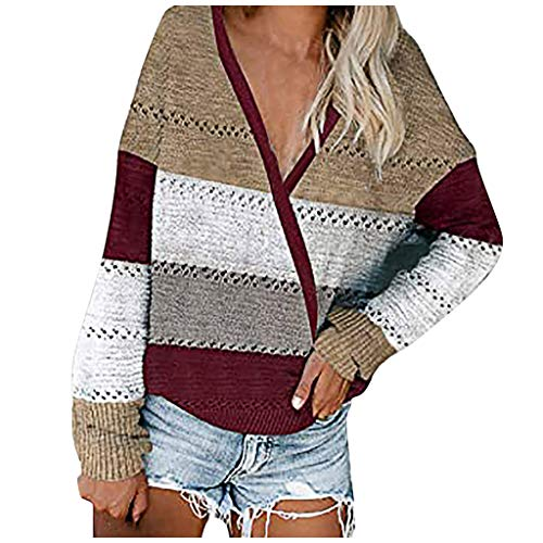 Dosoop Women's Long Sleeve Sweater Color Block Patchwork Shirt Round Neck Casual Loose Knit Blouse Tops Oversized Pullover