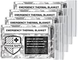 Swiss Safe Emergency Mylar Thermal Blankets (4-Pack) + Bonus Signature Gold Foil Space Blanket: Designed for NASA, Outdoors, Hiking, Survival, Marathons or First Aid (Arctic Camouflage)
