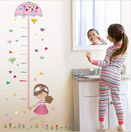 LWJZQT wandstickers Leuke Meisje Paraplu Meet Hoogte Muurstickers Stickers Decal Kinderen Zelfklevende Vinyl Behang Muurschildering Baby Meisje Jongen Kamer Kwekerij Decor