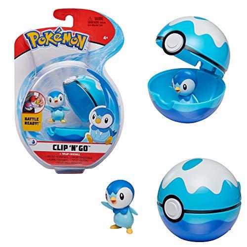 Bandai - Pokémon - Poké Ball & figurine Clip 'N' Go - 1 Scuba Ball + 1 figurine 5 cm Tiplouf (Piplup) - accessoire pour se déguiser en Dresseur Pokémon - WT97899