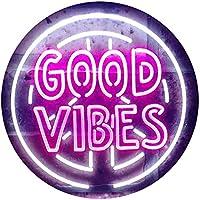 Good Vibes Peace Signal Display Dual Color LED看板 ネオンプレート サイン 標識 白色 + 紫 400 x 300mm st6s43-i3595-wp