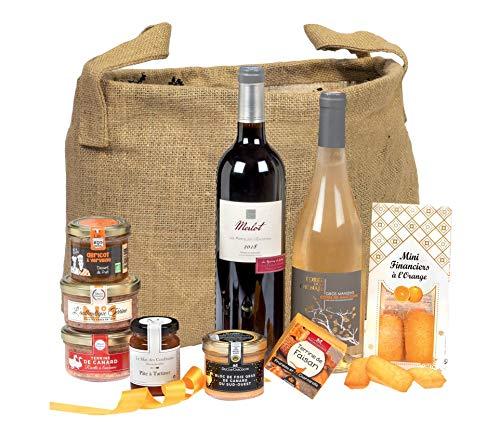 """Ducs de Gascogne - Coffret gourmand """"Pêcher Mignon"""" - comprend 9 produits dont un bloc de foie gras, un vin rouge et un vin blanc moelleux - spécial cadeau (946562)"""